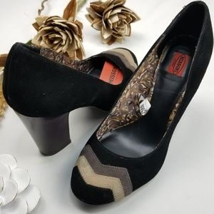 Missoni - 3¾ in Black Suede Chevron Block Heel 8